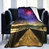 NCRJCZQL Couverture en Micro-Polaire Ultra-Douce,Univers Galaxies Cosmos Bridge Impression, Couverture Chaude décorative pour canapé-lit 60'X 50'
