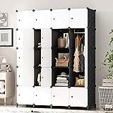 PREMAG Armoire Portable DIY, Penderie avec Portes, Tige Suspendue, Construction Solide pour Vêtements, Chaussures, Accessoires, Noir et Blanc 20 Cubes
