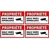 alarme propriété sous vidéo surveillance lot de 4 logo 5669 autocollant adhésif sticker - Taille : 8 cm