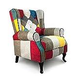 Mediawave Store - Fauteuil en tissu patchwork inclinable, chaise, fauteuil, relax, rembourré avec repose-pieds, inclinable, avec accoudoirs, modèle Pacifique