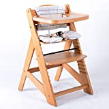 Chaise Haute en bois Ajustable Chaise bébé Escalier chaise haute NATURE 65512-01