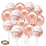 SKYIOL Confettis Ballons Rose Or Rose Latex Hélium Ballons Pack avec 20 m Ballon Ruban Décorations de Fête pour Filles Enfants Anniversaire De Mariage Baby Shower, Pack de