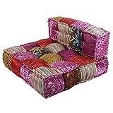 Casa Moro Canapé patchwork oriental - Velours rose - 80 x 75 x 46 cm (l x p x h) - Carré avec rembourrage - Coussin de relaxation indien fait à la main - Coussin d'assise style bohème - MA2835