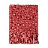 Bourina Housse de canapé texturée douce et solide en tricot - Couleur rouille - 125 x 152 cm