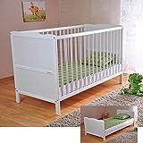 Lit bébé ✔ Lit bébé avec matelas en mousse Aloe Vera ✔ Des rails de protection ✔ Réglables en hauteur ✔ Blanc ✔ Transformable en lit enfant