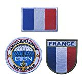 Urmagic 3-en-1 Drapeau français français armée insigne française en relief,militaire Patch hook Patchs Armoiries