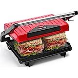 Aigostar Warme 30HHH - Grill multifonction, plancha, presse à paninis, appareil à sandwichs. 750W, plaques anti-adhésives, poignée froide. Sans BPA. Couleur rouge et noir. Design exclusif.