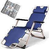 Chaise Longue Inclinable, Fauteuil de Jardin Inclinable Réglable Chaise Longue Pliante, Structure en Aluminium Chaise Longue à Trois Pieds, Coussin Amovibles, capacité de charge jusqu'à 200 kg,Blue