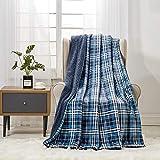 softan Couverture Polaire en Sherpa de, Couverture de Fourrure en Peluche Super Douce pour Couverture de Fourrure floue de lit de canapé, 150cm × 200cm Twin, Blue Plaid