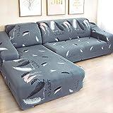 flqwe Protection du canapé et du siège Contre la poussière,Housse de canapé d'angle en L Spandex Housse de canapé de Salon Housse de canapé d'angle-Couleur 14_1pc 3 Places 190-230cm