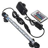 Asvert Lampe Tube Aquarium 12 LED Etanche avec Ventouse Luminaire Submersible 16 Couleurs avec Télécommande Eclairage Aquarium sous l'Eau pour Poisson 28 x 1,8 cm (3W)