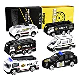 XDDIAS Voiture de Police Jouet, 6 Pcs Miniature Véhicule Jouets Modèles, Alliage Voitures Police Voiture de Patrouille Cadeau pour Enfants 3 Ans Garcon