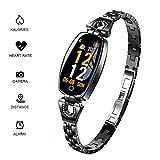 RISSME Bracelet pour femme SmartBracelet, étanche Tracker Fitness Tracker Calorie Pulsmètre Podomètre/Moniteur de sommeil Compatible avec iOS et Android, noir