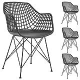 IDIMEX Lot de 4 chaises Alicante pour Salle à Manger ou Cuisine au Design Retro avec accoudoirs, Coque en Plastique Noir et 4 Pieds croisé en métal laqué Noir