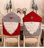 TECHVIDA Housse de Chaise de Noel, 2 Pcs décoration de Chaise, Couvertures lavables démontables pour la décoration de chaises de pièce de Cuisine de Festival de fête de Vacances .(Rouge)