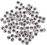 Lot de 150 perles lettres en plastique - Rondes - 7 mm - Mix de plusieurs couleurs - Pour bracelets, colliers, porte-clés et bijoux pour enfants - D108
