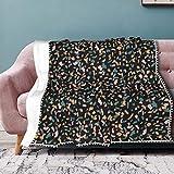 Cocoal-ltd Plaid en flanelle avec franges à pompons - Couverture légère et chaude pour lit, canapé, chaise, bureau - 127 x 153 cm - Style Zo Terrazzo