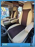Housses de siège conducteur et Passager pour Camping-Car avec accoudoirs, Beige Marron, 830