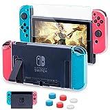 HEYSTOP Coque Compatible avec Nintendo Switch avec Protection Écran, Étui Nintendo Switch Protection Ecran Verre trempé avec 6 poignées Couvre Pouce Absorption des Chocs et Antirayures