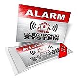 imaggge.com - Autocollants dissuasifs Alarm - Electronic System - Lot de 12 - Dimensions 8,5 x 5,5 cm