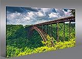 Cadre moderne acier Pont Paysage de la vallée Impression sur toile–cadre x fauteuils salon cuisine meubles bureau maison–Photo Format XXL carreaux
