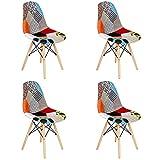 BenyLed Lot de 4 chaises de salle à manger en patchwork coloré