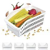Homelife - Lot de 4 Bacs de Rangement Réfrigérateur FRIMAX - Blanc pour refrigerateur Tiroir Organisateur Panier legumes Frigo Congélateur Robuste Boite Cuisine Nettoyage (Moyen)