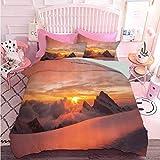 Hiiiman Parure de lit de qualité supérieure Motif lever de soleil dans les Alpes suisses avec vue magique sur le paradis naturel de montagne (3 pièces, surdimensionné)