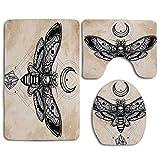 N\A Fantasy Dead Head Hawk Moth avec Luna et Pierre Ancient Magic Skull Illustration Tapis de Bain Tapis Set de 3pcs, Housse de siège de Toilette Anti-dérapant Housse de Couvercle de Tapis de Bain