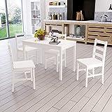 Ensemble Table en Bois + 4 Chaises pour Salle à Manger, Cuisine, Séjour, Café, Blanc