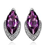 Hmilydyk Femme Charm plaqué platine CZ Cristal Clous Boucles d'oreilles en forme de larme Strass à partir de Swarovski Elements violet