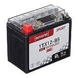 Accurat Batterie de moto YTX12-BS 12Ah 180A 12V Technologie gel + Écran LCD Batterie de démarrage Performante Robuste Résistante aux vibrations Zéro maintenance
