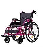 ZXL Fauteuil Roulant autopropulsé étroit, Chaise Pliante Portable en Aluminium léger Lui-même, Un Repose-Pieds Mobile, Main Courante (Rouge)