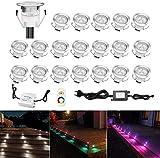 Lot de 20 LED Spot Encastrable Extérieur - Mini spot encastré de Ø30mm Eclairage Encastrables Extérieur pour Terrasse Enterre, IP67 Etanche DC12V Lumière Moderne pour Chemin Escalier Paysage(Multi-Couleur,Changeable)