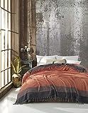 Belle Living Artemis Couvre-lit de qualité supérieure, idéal pour le lit et le canapé, 100% coton, avec des franges faites à la main, 200 x 250cm