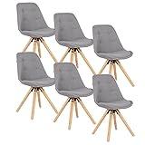 WOLTU BH54gr-6,6 X Chaises de Cuisine chaises de Salle à Manger en Lin et Bois Massif,chaises de Loisirs chaises de Salon Gris