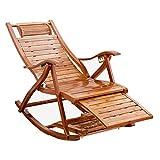 Fauteuil à Bascule Relax Confortable avec Chaise Longue en Bois |Inclinable, inclinable, transat, lit de Bronzage