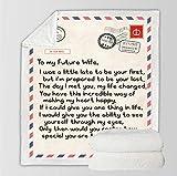 Couverture en Polaire Sherpa/Flanelle Une lettre à ma future femme Bedding Couverture Plaid Peluche Effet Mouton Réversible 150X200 cm Couverture de lit Super Chaude Couverture de canapé