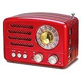 Radio Portable PRUNUS Vintage FM/AM (MW) / SW, Radio Vintage, Bouton de réglage Extra Large, Prise en Charge de la Carte Bluetooth/TF/AUX/Lecteur MP3 USB.