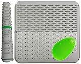 Extra Large 54x46cm, Tapis Egouttoir Silicone, de dessous de plat, de Séchage Vaisselle, Avec une belle brosse, (22x18inches)gris