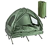 SoBuy® OGS32-L-GR 4-in-1! 2 Places Lit Pliant Lit de Camp Pliable Voyage Camping avec Toit, Sac de Couchage, Matelas Gonflable, Sac de Transport et Accessoires