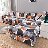 ASCV Housse de canapé élastique géométrique nécessite Une Commande de 2 pièces Housse de canapé si canapé d'angle sectionnel de Style L enveloppe serrée capa de Sofa A8 3 Places