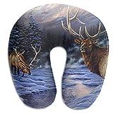 NAN TIAO Oreiller de Voyage Elk Winter Snow - Cou de Repos Super Confortable, Menton, Support de Coussin de tête, Oreiller Lavable en Forme de U pour garçons et Filles, Mousse à mémoire de Forme