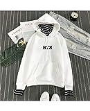 Pull 3D Imprimé Vilain Kpop BTS Sweat-Shirt De Sport Unisexe De Mode Amoureux Pull Hauts Pulls Pull-ovoover Doux Confortable Manches Longues Hommes Femmes Blanche (Color : A, Size : Medium)