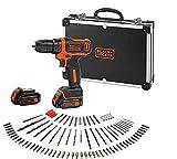 BLACK+DECKER BDCDD12BAFC-QW Perceuse visseuse sans fil - Chargeur inclus - 100 accessoires - Livrée en coffret en métal, 12V, Coffret, 2 Batteries