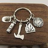 XKMY Porte-clés en forme de chapeau de pompier en métal - Porte-clé en forme de chapeau de pompier - Porte-clé avec alarme incendie - Cadeau idéal - Couleur : Style 3