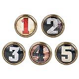 Sharplace Lot de 5 Boutons de Porte de Meuble Poignées de Placard Style Vintage avec Vis Décor Rétro, pour Meuble, Porte, Placard, Tiroir, Armoire, 5 x 3.5 CM