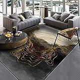 PANGLDT Tapis Chic Noble Moderne Design -Tapis à Motif géométrique doré- Salon Chambre Maison Tapis Coussin de Chaise d'ordinateur-120x160cm