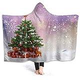 HARXISE Couvertures Capuchon Peluche Cape,Cadeaux d'arbre de Noël Boules d'argent Rouge Flocon de Neige d'hiver de cèdre,Douce Confortable sur Couverture pour 60x50
