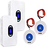 Bouton d'appel d'urgence mobile sans fil pour personnes âgées - Pour personnes âgées - Alarme personnelle avec disabilites, 2 récepteurs et 2 transmetteurs portables